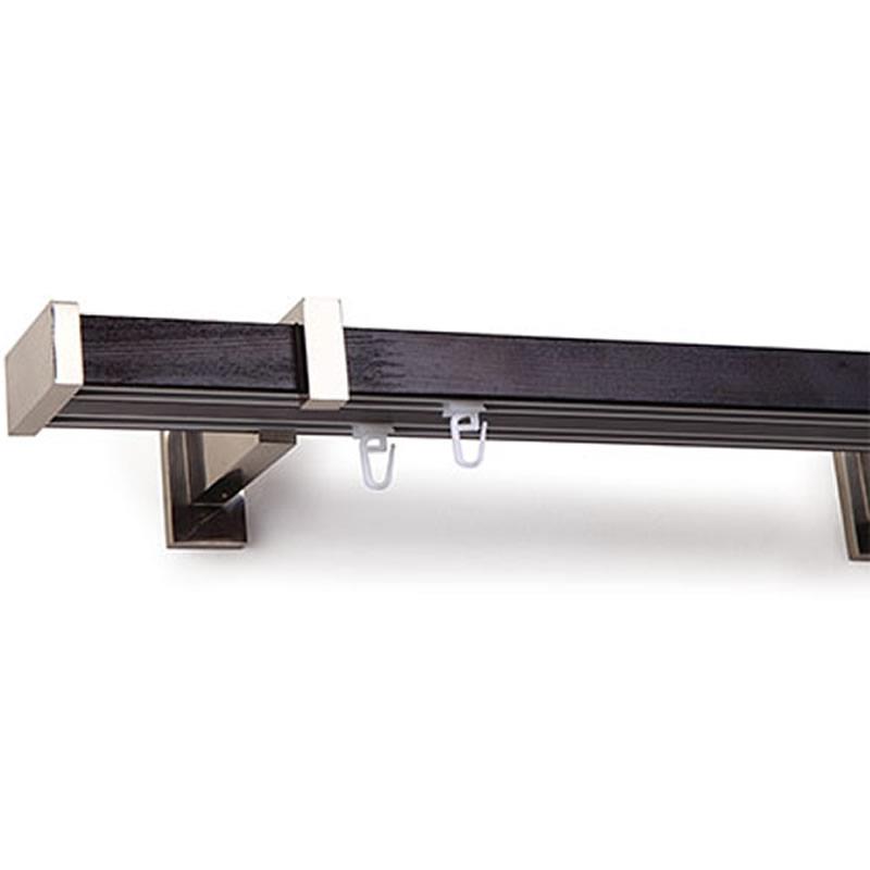 Galerie de perdea premium din lemn cu 2 canale aluminiu - Wenge 1012000035