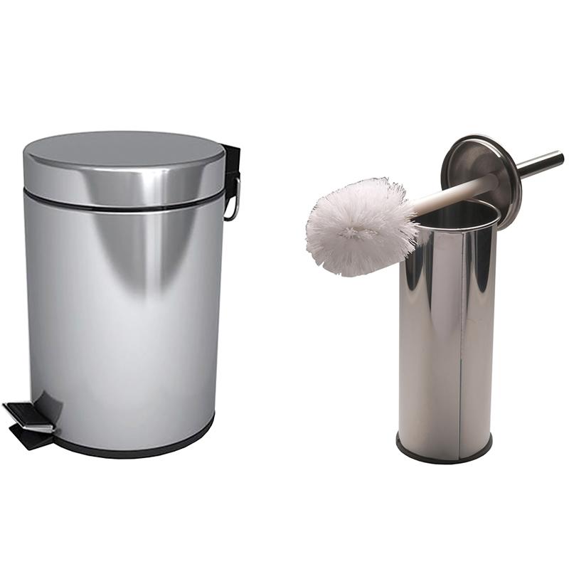 Мусорная корзина и туалетная щетка из нержавеющей стали в  виде набора из двух элементов 1034000021